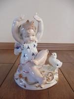 Antik ENS porcelán angyal csibével