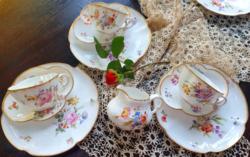 Sarreguemines Minton porcelán teás kávés reggeliző szett kiöntővel