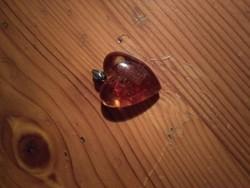 Szívmedál borostyánnal, női ékszer medál jewelry amber pendant