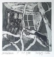 Kőszeghy Csilla - Bérházban I. 14 x 14 cm rézkarc
