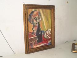 Szignózott olaj  tempera festmény