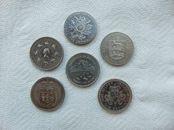 Anglia 6 darab 1 crown - 25 pence - pound LOT ! 28 grammos érmék