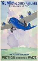Vintage reklám plakát reprint nyomat KLM repülőgép repülő hollandi járat hajó vitorlás pasztell