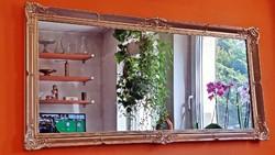 Antik, arany keretes, blondel rámás, gyönyörű tükör. 64 x 132 cm.