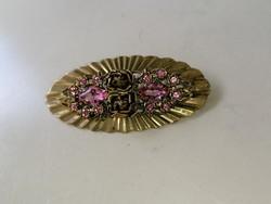 Régi bross kitűző pink rózsaszínű kövekkel díszítve, rézbe foglalva
