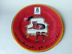 Guliano Della Casa Csizmás Kandúr fém tányér Bistefani 2012