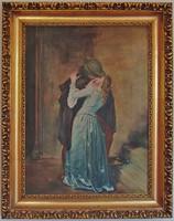 Szignált H. Flóra festmény - olajfestmény, vászonon szép keretben