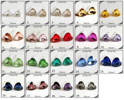 Kristály szív szilikon fülbevaló több színben SFSZ-K02
