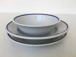 Zsolnay retro kék csíkos tányérok