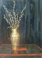Ismeretlen művész - Barkás csendélet 80 x 60 cm olaj, vászon