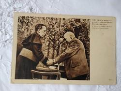 Vintage fotólap, propaganda fotó Rákosi Mátyás, Gál Károly esperes