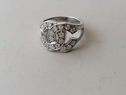 Ezüst Coco Chanel gyűrű cirkonkövekkel díszítve 925