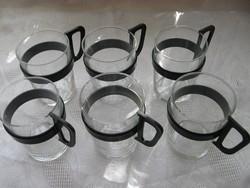 Retro Duralex teás, kávés készlet Muster gesch. füllel
