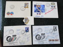 Igazi gyűjtői ritkaság  13 db híres űrhajós aláírás és első napi bélyegek 1980 és 83 ból