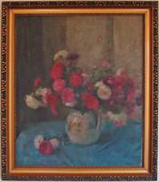Moldován István virágcsendélete - olajfestmény, vászonon szép keretben