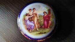 Kerek, kék, régi, porcelán bonbonier.