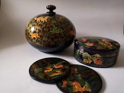 Perzsa lakkozott fa kézzel festett dobozok nyulas őzes