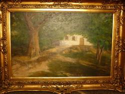 Eladó Kárpáty Rezső Rudolf: Ligetes ház olajvászon, nagy méretű festménye