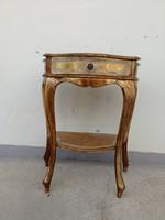 Antik arany színű aranyozott fiókos fa kis konzol asztal 4308