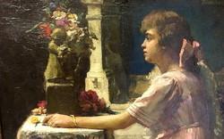 KRUTSAY FERENC/ Csókás,1868 - 1924/ :Fiatal lány,olaj karton,70 x 50 cm