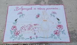 Gyönyörű hímzett virágos  falvédő falikárpit Nosztalgia darab Gyűjtői szépség, Paraszti dekoráció