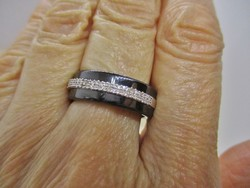 Szép egyedi kézműves kerámia, ezüst gyűrű gyémántokkal 0.25ct