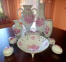 (10 db) Hollóházi vázák, áttört asztalközép , ékszertartók és bonbon tartó együtt
