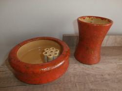 Tófej kerámiák Ikebana virágtál és váza
