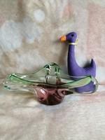 21176A2 Csehszlovák művészi fújt üveg asztalközép