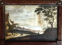 Antik, 230 éves gouache! Ismeretlen francia festő – Vadászjelenet című festménye – 179.
