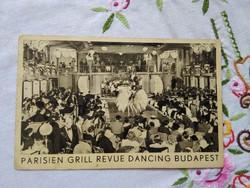 Vintage reklámlap/képeslap Parisien Grill Revue Dancing szórakozóhely Budapest 1940