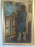 A festőművész munka közben , olajfestmény vászon hordozón .