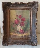 Gyönyörű csendélet festmény,Rózsàk vàzàban,jelzett kép, Blondel keret,Fratuli  szignó ismert festő!