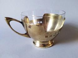 Argentor szecessziós üvegbetétes teáspohár 1910