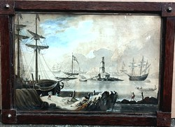 Antik, 230 éves gouache! Ismeretlen francia festő – Kikötői jelenet című festménye – 182.