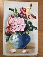 Virágcsokor 40-es évekbeli képeslap