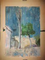 Szőnyi István festmény, gouache, A4-es méretű