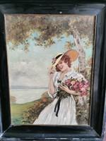 Illencz Lipót kalapos hölgy virággal