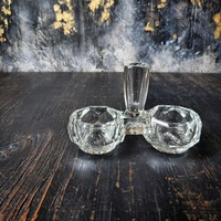 Régi öntöttüveg asztali fűszertartó, sótartó, fogpiszkálótartó