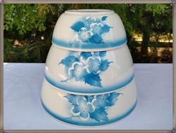 Kék virág mintás,Gránit mély tál készlet