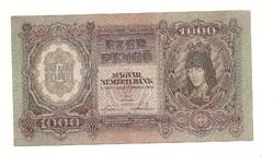 1000 pengő 1943  bankó papírpénz bankjegy  nagyon jó baba állapotban