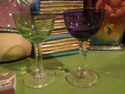 2 db színes , likőrös pohár egyben . 8  x 4,5 cm-esek , talán 3 cl fér beléjük .