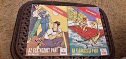 A 22 darabos Rejtő képregény sorozat két füzete. Az elátkozott part 1-2. rész.