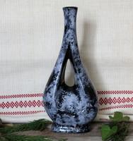 Mid Century IPV extra forma váza, retro, home decor, stúdió kerámia, 60-as évek, szürke-fekete,