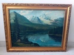 Hudák olaj vászon tájkép festmény 62*81 cm