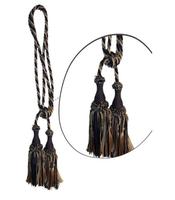 Klasszikus zsinóros kétfejes függönyelkötő – Bézs-sötétkék szín