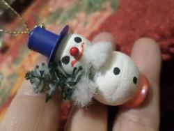 5 cm-es , retro , papírgömböc hóember / karácsonyfadísz . Nem antik .