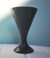 Szép jelzett  francia nagyon sötétlila már fekete üveg kehely, váza, dísz