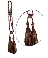 Klasszikus zsinóros kétfejes függönyelkötő – Bézs bordó szín