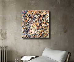 Vörös Edit: Jackson Pollock Style Abstract N21017 40x40cm